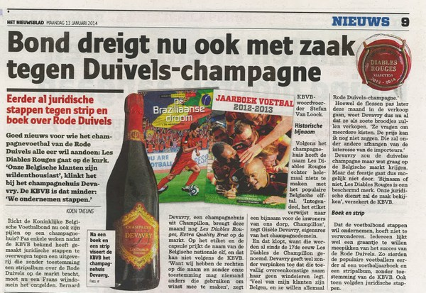 Artikel Rode Duivels champagne - Nieuwsblad 13/01/14