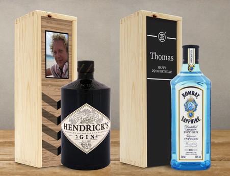 Gin in een houten kist
