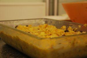 broodpudding voordat hij de oven ingaat
