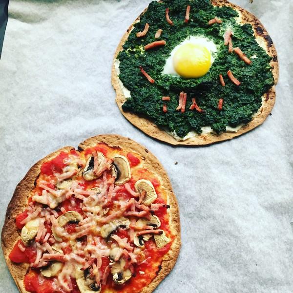 pizza op tortilla